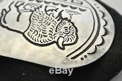 Lg GARY & SERENA BENTEAH Zuni BELT BUCKLE American Bison Sterling Silver GARETT