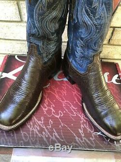 Lucchese Square Toe Antique Cigar Brown Bison Cowboy Boots 11 D