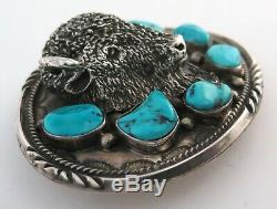 MASSIVE 138 g Sterling Silver & Turquoise Relief Bison Western Belt Buckle