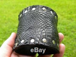 Men cuff large black Bracelet wristband Alligator and Bison leather adjustable