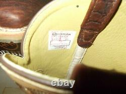 Mens 10.5 EE Square Toe Bison ICE Roper Work Western Cowboy Boots New USA Cream