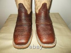 Mens 10 D Square Toe Bison Roper Work Western Cowboy Boots New USA