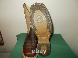 Mens 11 D Square Toe Bison Roper Work Western Cowboy Boots New USA