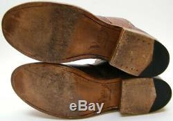 Mens Vintage Shoe Company Jonathin Brn Bison Leather Ankle Zip Boots Sz 11 M USA
