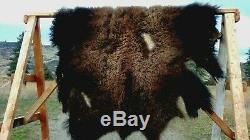 NEW Wild Montana Yellowstone Park Bison Buffalo Robe Hide Leather Native Antler