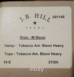 NWB J. B. HILL TEXAS BISON HEAVY GRAIN MADE IN USA 10 E cowboy STALLION QLTY