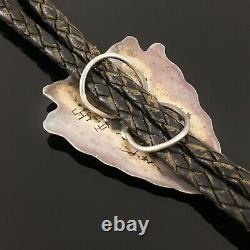 Native American Hopi Silver Bison Arrowhead Bolo Tie Steven Sockyma Hopicrafts