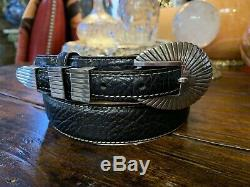 Navajo James Reid style Sterling Silver Belt Buckle Set Nu 36-39
