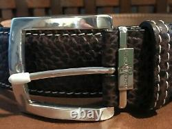 New Links Kings Genuine Brown Bison Leather Belt Size 32.5 Custom Made L@@K
