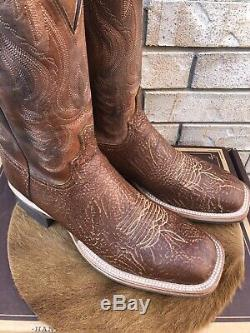 New Lucchese Square Toe Bison Leather Western Cowboy Boots 13 D