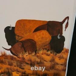 ORIGINAL Painting Native American Artist Muskogee Albert Lee Harjo Bison