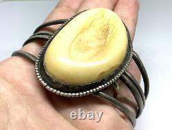 Old Pawn Navajo Native Sterling Silver Bison Bone Wide 7.25 Cuff Bracelet