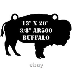 One AR500 Buffalo Target 13 x 20 x 3/8 Painted Black Shooting Water Bison