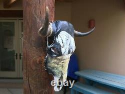 PAINTED STEER SKULL 21 1/4 wide HORN (MYSTICAL WHITE BUFFALO) cow BULL BISON