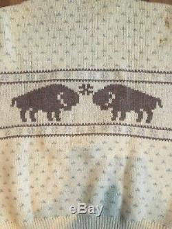 RARE Bison Fair Isle Christmas Sweater Pendleton Mills MSRP $495 XL