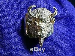 RARE Edward H Bohlin Bohlinmade Solid 14K Gold Bison Bolo Tie/Lapel Pin