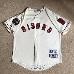 RARE Vintage Russell Buffalo Bisons Johnny Bench Jersey Sz 48 XL Cincinnati Reds