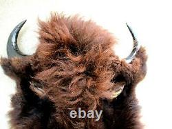 REAL Tanned Colorado Bison Buffalo Head Hide withHorns Display, Mount, Taxidermy