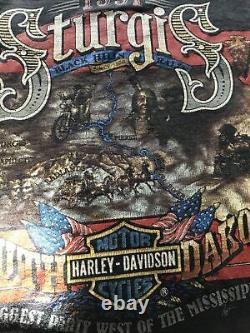Rare Vintage 3D Emblem Harley Davidson Shirt 1991 Protect Wildlife Bison Sturgis