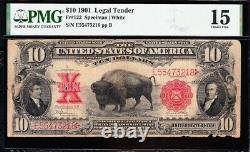 Scarce 1901 $10 BISON Legal Tender US Note! FREE SHIPPING! PMG 15! E55473218