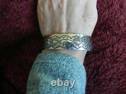 Stamped BUFFALO BISON Sterling Silver Cuff Bracelet by Jerry Cowboy Navajo