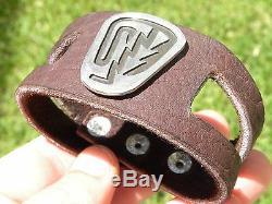 Sterling silver pendant cuff men biker bracelet Buffalo bison leather nice gift