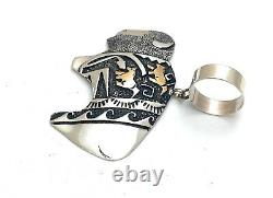 T&R Singer Bison/Horse Overlaid Sterling Silver and 12k Gold Craft Pendant