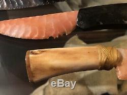 Tammy Hurtado Flint Knapped Knife Brazilian Agate Blade Bison Bone Handle Art