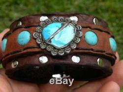 Turquoise sterling silver pendant cuff men biker bracelet Bison leather