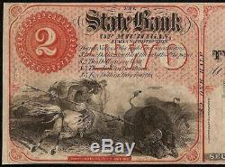UNC 1800s $2 DOLLAR DETROIT MICHIGAN BANK NOTE LARGE PAPER MONEY INDIAN BISON