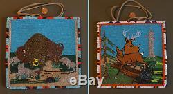 Very Fine 1930's Native American Beaded Bag 2 Sided Wolves, Bison & Deers