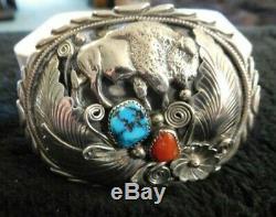 Vingage Navajo Sterling Silver Bison, Turquoise/Coral Belt Buckle. 925 Signed