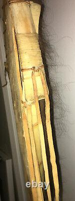 Vintage American Indian Wall Hanging Buffalo Hide Shield & Bison Leather Straps