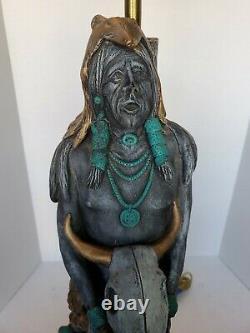 Vintage Apsit Bros California Native American Shaman Holding Bison Skull Lamp