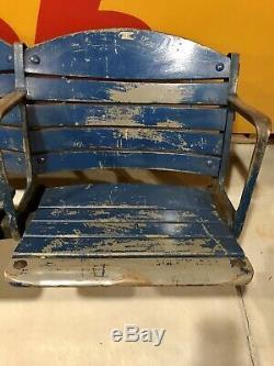 Vintage BUFFALO MEMORIAL AUDITORIUM Blue Seats Pair AUD NHL Sabres Braves Bisons