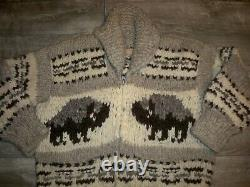 Vintage Cowichan Bison Buffalo Knit Thick Shawl Cardigan Sweater Mens Size Large