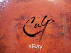 Vintage Enamel On Copper Bison Bowl By Barbara Culp Native American Southwest