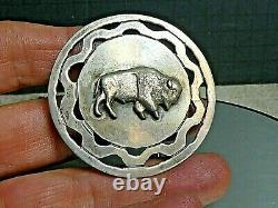 Vintage Handmade Navajo Buffalo/Bison Sterling Silver Belt Buckle Signed EM'76