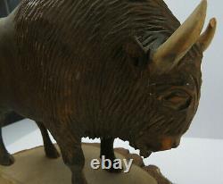Vintage Large Hand Carved Wood Buffalo Bison Statue Figure Sculpture US