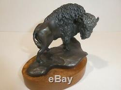 Vintage Norman Boyles Bronze Buffalo American Bison Sculpture 24/50 1977