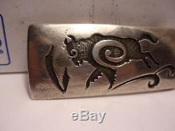 Vintage Silver Hopi Navajo Overlay Belt Buckle Buffalo Bison
