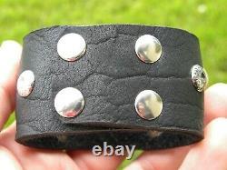 Vintage sterling silver V shape genuine Bison leather cuff bracelet wristband