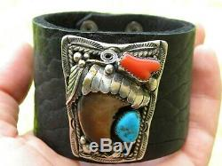 Vintage sterling silver turquoise Bison leather claw coral sign G cuff bracelet