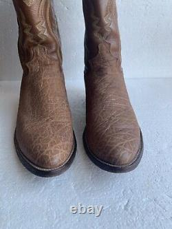 Vtg Justin USA American Buffalo Bison Leather Cowboy Boots Mens Size 9.5D