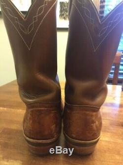 White's Boots Rancher Genuine Brown Bison Leather Hathorn Line Cowboy Work 10.5