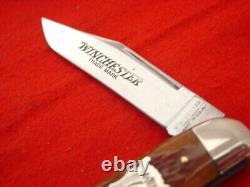 Winchester USA Made 4-1/2 Buffalo Bison Shield Bone Whittler Knife MIB ld