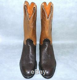 Worn Once! 8.5 B/narrow Lucchese 2000 American Bison Roper Cowboy Boots Mens